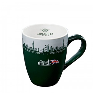 Kubek Zielono-biały Great Britan z logo Ahmad Tea London. 370 ml.